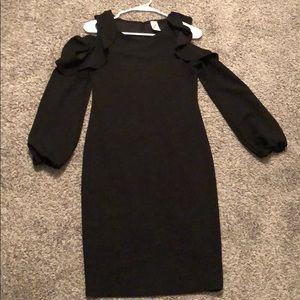 Black maternity dress with ruffled sleeves
